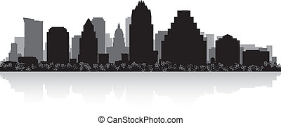 austin, skyline città, silhouette