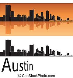 Austin skyline in orange background in editable vector file