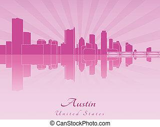 Austin skyline in purple radiant orchid in editable vector...