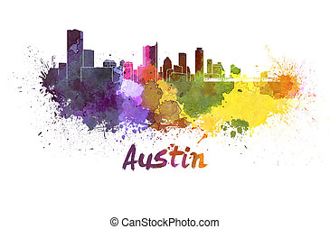 Austin skyline in watercolor splatters with clipping path