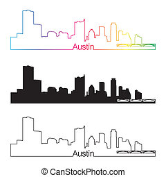 Austin skyline linear style with rainbow in editable vector...