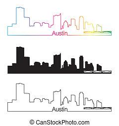 Austin skyline linear style with rainbow in editable vector file