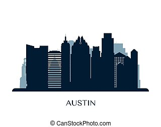 Austin skyline, monochrome silhouette.