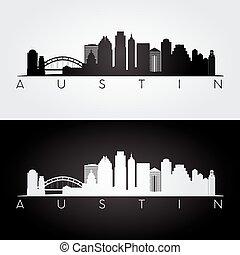 Austin skyline silhouette - Austin USA skyline and landmarks...