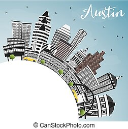 Austin Skyline with Gray Buildings, Blue Sky and Copy Space....