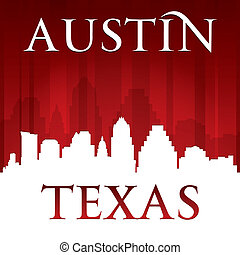 austin, tejas, perfil de ciudad, silueta, fondo rojo