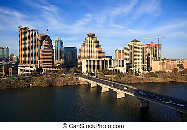 Austin Texas Downtown - a nice clear day by the lake in...