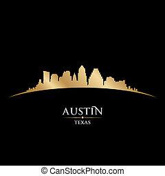 austin, texas, miasto skyline, sylwetka, czarne tło