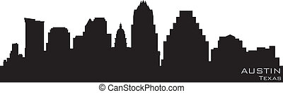 austin, texas, skyline., szczegółowy, wektor, sylwetka