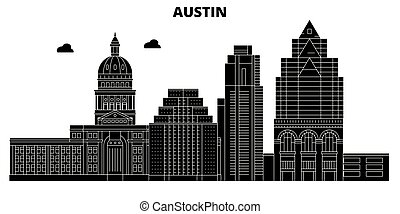 Austin, United States, vector skyline, travel illustration, landmarks, sights.