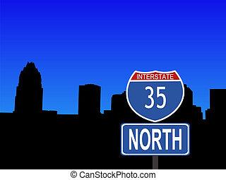 Austin with Interstate sign - Austin Skyline with Interstate...