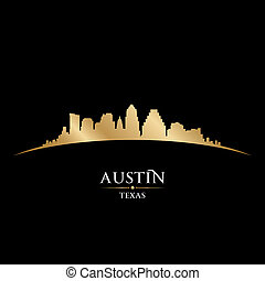 austin, zwarte achtergrond, skyline, stad, silhouette, texas