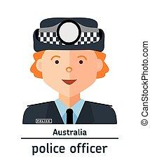 austrália, avatar, polícia, apartamento, illustration., ...