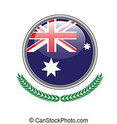 austrália, button., ilustração, experiência., bandeira, vetorial, icon., branca