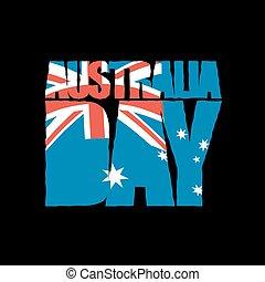 austrália, day., patriótico, holiday., bandeira australiana, em, grunge, style.