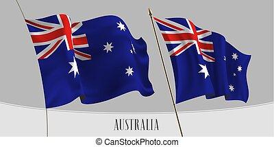 austrália, jogo, isolado, ilustração, bandeira acenando, vetorial, fundo