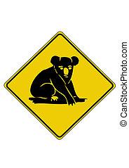 austrália, koala, sinal estrada