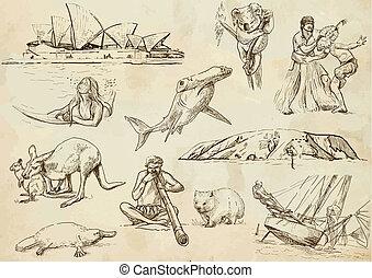 austrália, -, mão, vetorial, viajando, desenhado, pacote