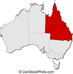 austrália, mapa, destacado, queensland