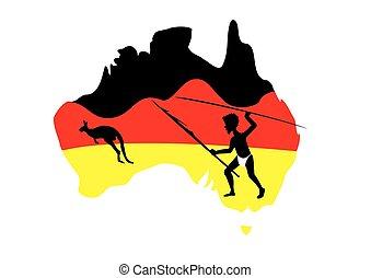 austrália, mapa, e, aboriginal, homem
