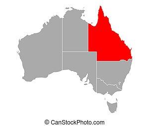 austrália, mapa, queensland