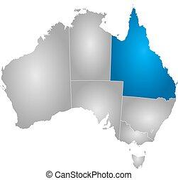 austrália, mapa, -, queensland