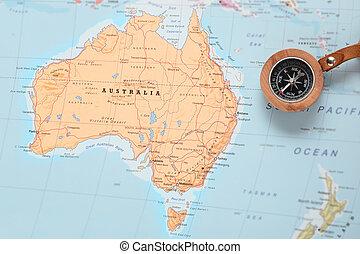 austrália, mapa, viaje destino, compasso