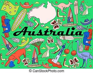 austrália, vetorial, ilustração