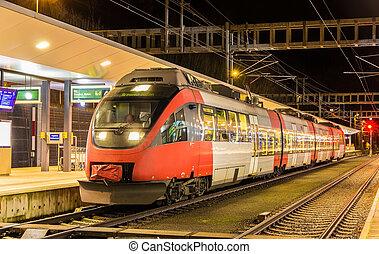 austríaco, local, trem, em, feldkirch, estação