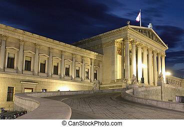 austríaco, parlamento, viena, noche