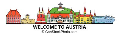 austríaco, señales, vector, austria, silueta, banner., delgado, urbano, viaje, línea, plano, cityscape, iconos, perfil de ciudad, contorno, illustrations.