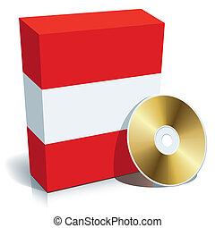 austríaco, software, caixa, e, cd
