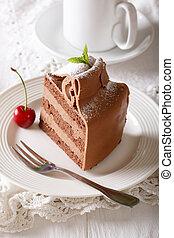 austríaco, torta de chocolate, con, un, delicado,...