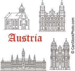 austríaco, vector, edificios, iconos, arquitectura