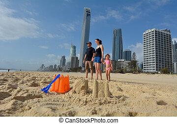australië, bezoek, paradijs, gezin, surfers