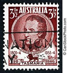 australië, -, circa, 1953:, een, postzegel, bedrukt, in, de,...