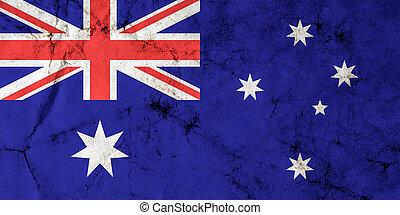 australië, grunge, textuur, vlag, vieze , oud