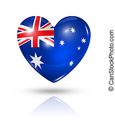 australië, hart, vlag, liefde, pictogram