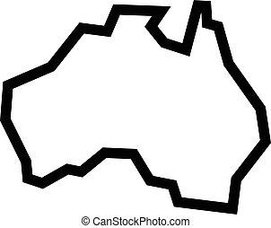 australië, kaart, aardrijkskunde, vorm