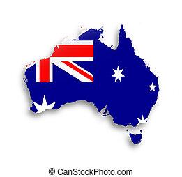 australië, kaart, met, de, vlag, binnen