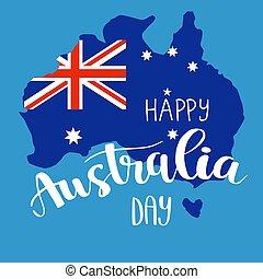 australië, kalligrafie, dag, lettering, vrolijke