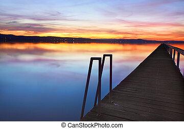 australië, ondergaande zon , kade, lang, nsw