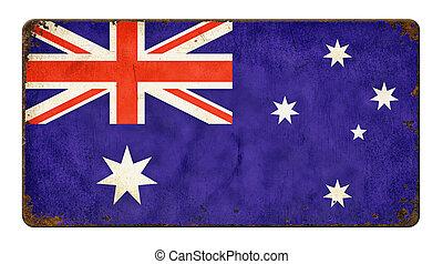 australië, ouderwetse , -, metaal voorteken, vlag, achtergrond, witte