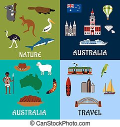 australië, plat, reizen, symbolen, en, iconen