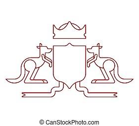 australië, schild, jas, heraldisch, koninklijk, symbool., illustratie, emblem., arms., vector, kangoeroe, australiër, nationale