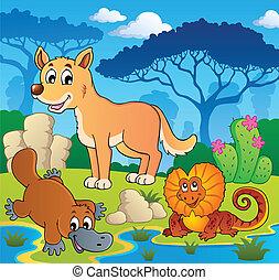 australiër, dieren, thema, 2