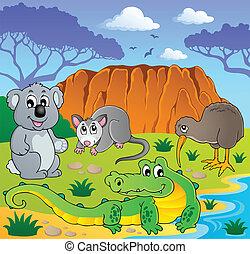 australiër, dieren, thema, 3