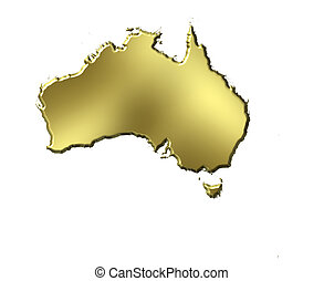 Australia 3d Golden Map - Australia 3d golden map isolated...