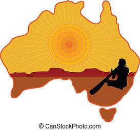 Australia Aboriginal - A stylized map of Australia with a ...