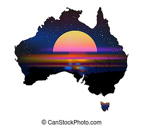 Australia Aboriginal continent with sunset isolated on white background.